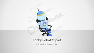 Robby Robot Cartoon Sitting on his Office Chair
