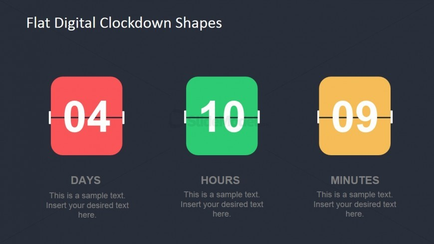 Flat Digital Clockdown Shapes for PowerPoint
