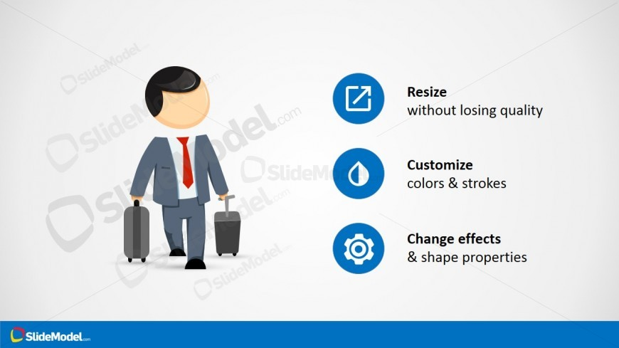 PowerPoint Mike Traveling Clipart for Sales Presentations