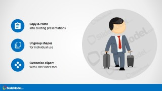 Traveling Scene Clipart with Business Man and Carry On Luggage
