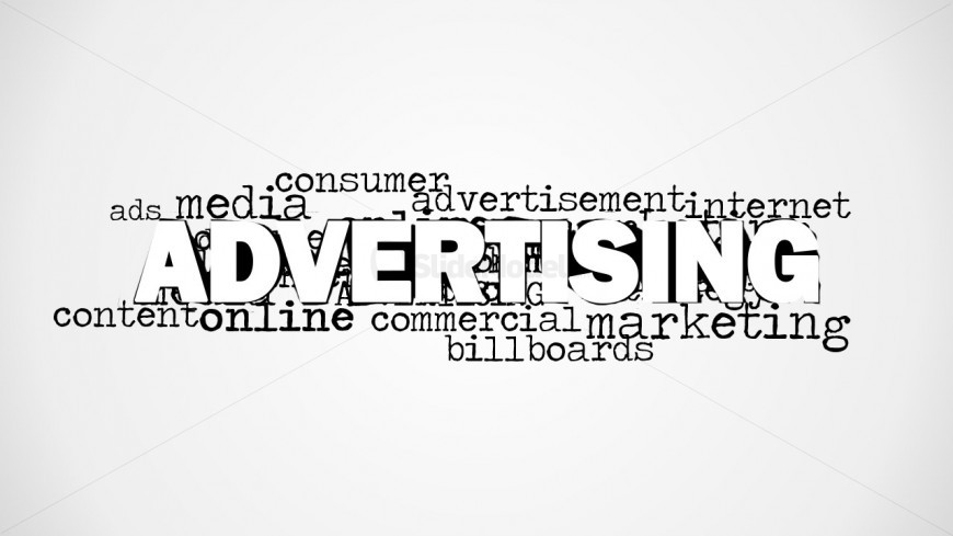 Tag cloud advertising picture for PowerPoint with main keyword and secondary keywords behind