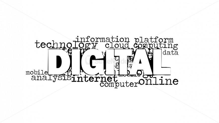 Digital Word Cloud Design for PowerPoint with White Background