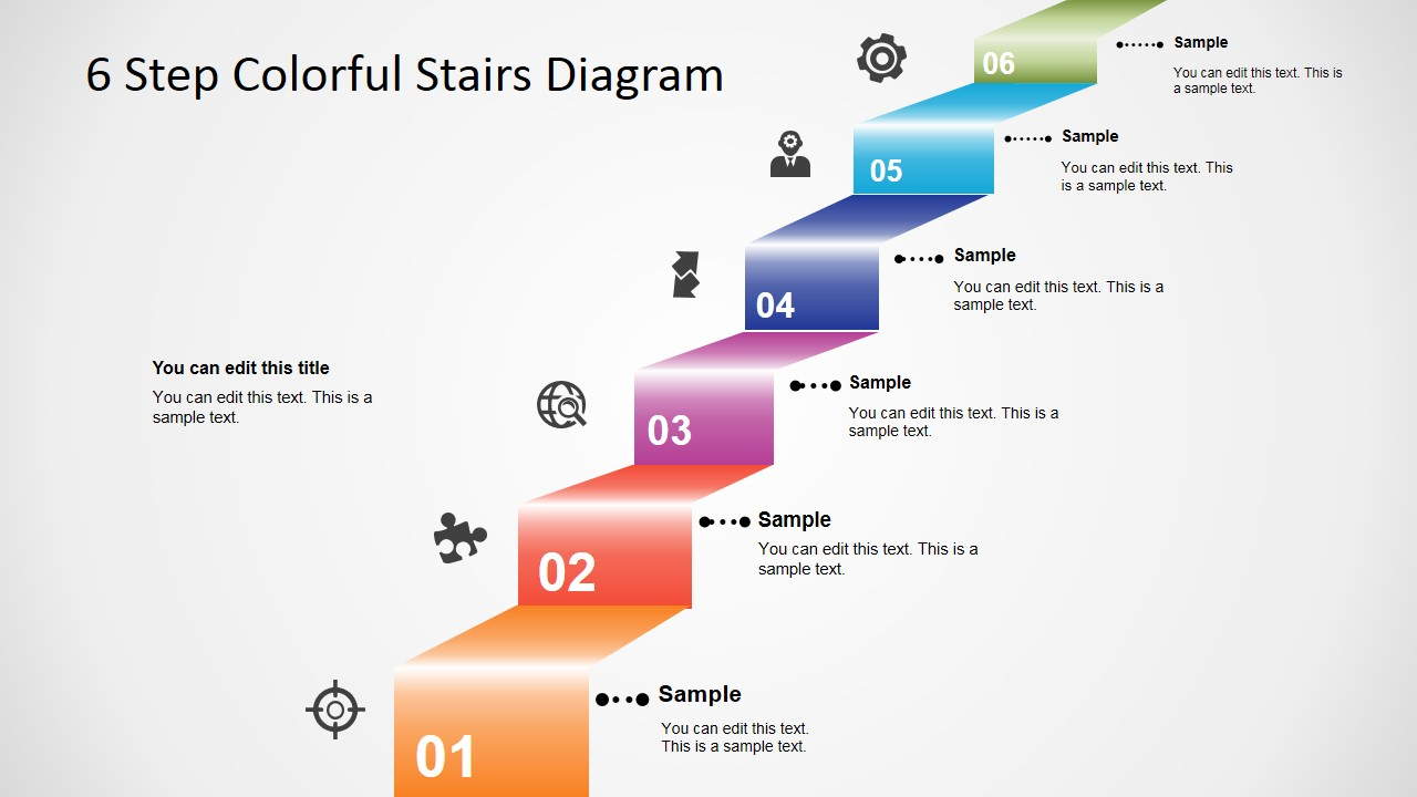 6 Step Colorful Stairs Diagram For Powerpoint Slidemodel Process Flow 3d Modern Stair With Icons