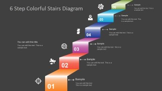 PowerPoint 6 Steps Colorful Diagram