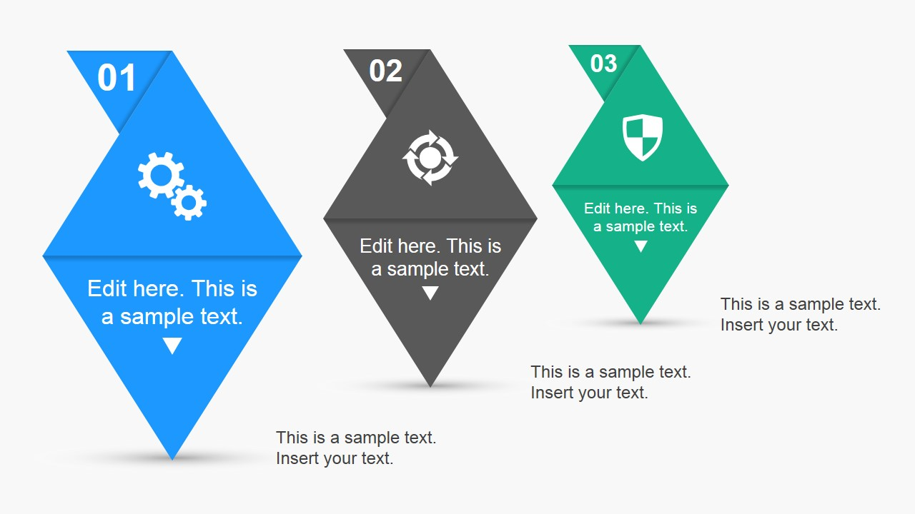 3 Elements Of Design : Steps needle infographic elements for powerpoint