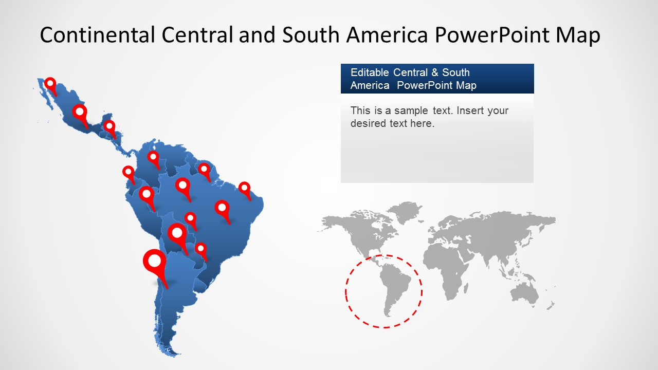 Continental Latin America PowerPoint Map - SlideModel on