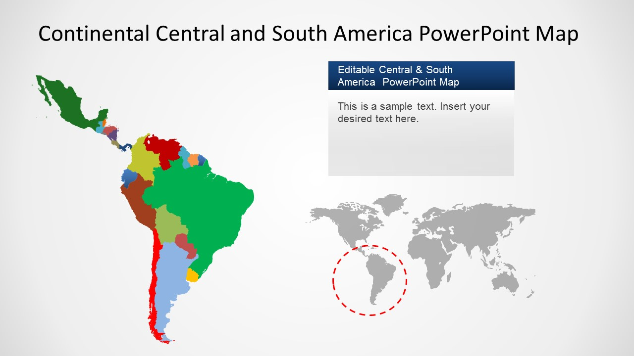 Latin America South America Map.Continental Latin America Powerpoint Map Slidemodel