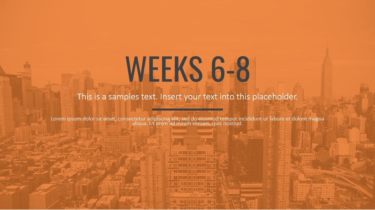 PPT Template with City Background Orange