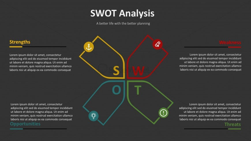 PPT Template for SWOT Analysis With Thin Borders and Editable Icons.