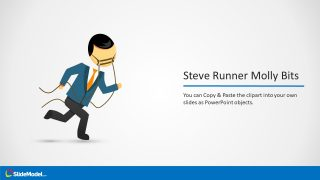 Template of Steve Cartoon Character Running