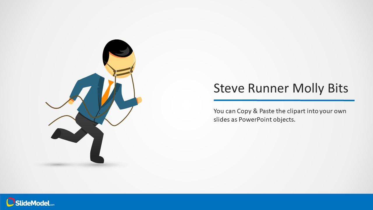 Template of Steve Cartoon Character Running