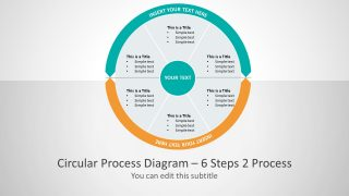 Six Segments Circular two process PowerPoint Diagram