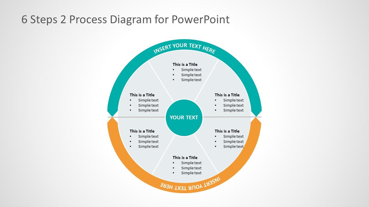 Six Segments Circular Two Process Powerpoint Diagram Slidemodel