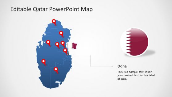 Blue Editable Map Template for Qatar