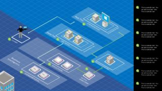 Azure Isometric Network PowerPoint Diagram