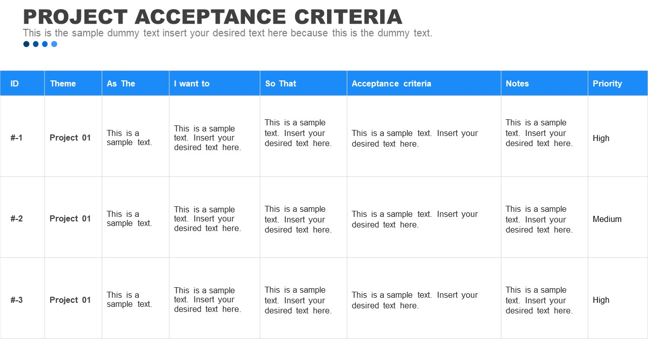 PPT Table of Project Acceptance Criteria