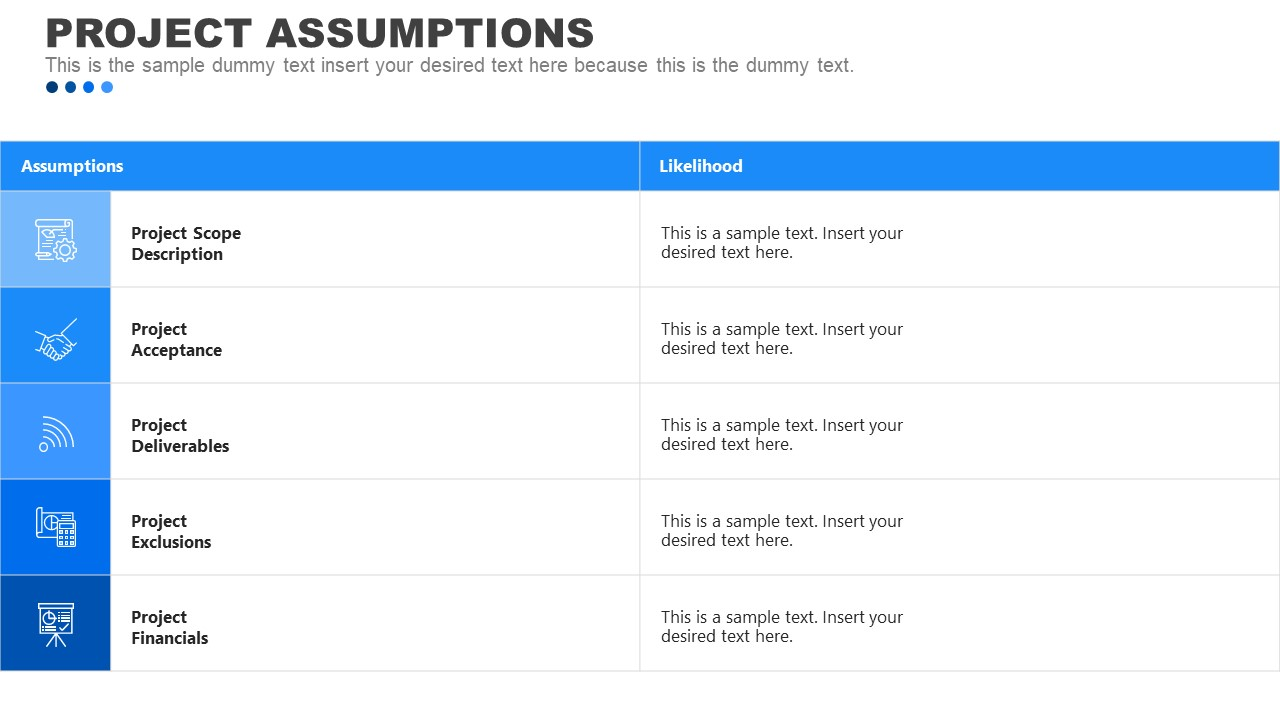 Template for Project Assumptions