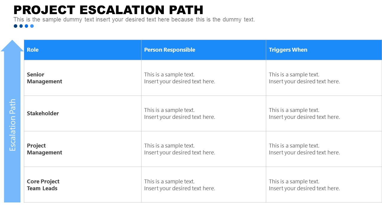 PowerPoint Project Escalation Layout