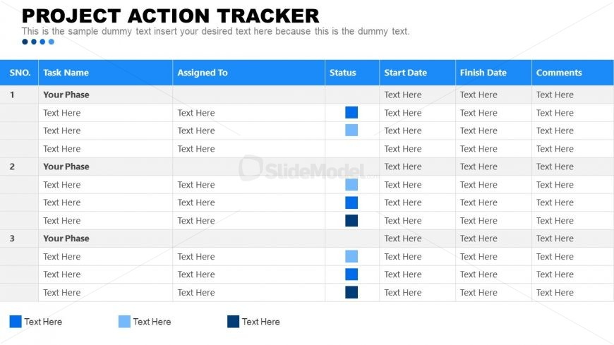 Table of Project Action Tracker