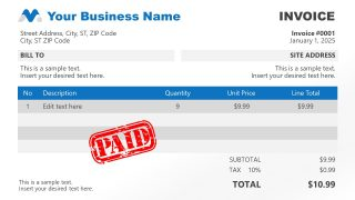 Blue Theme Paid Invoice PowerPoint