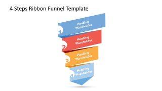 4 Level Funnel Diagram Rectangle Ribbon Design