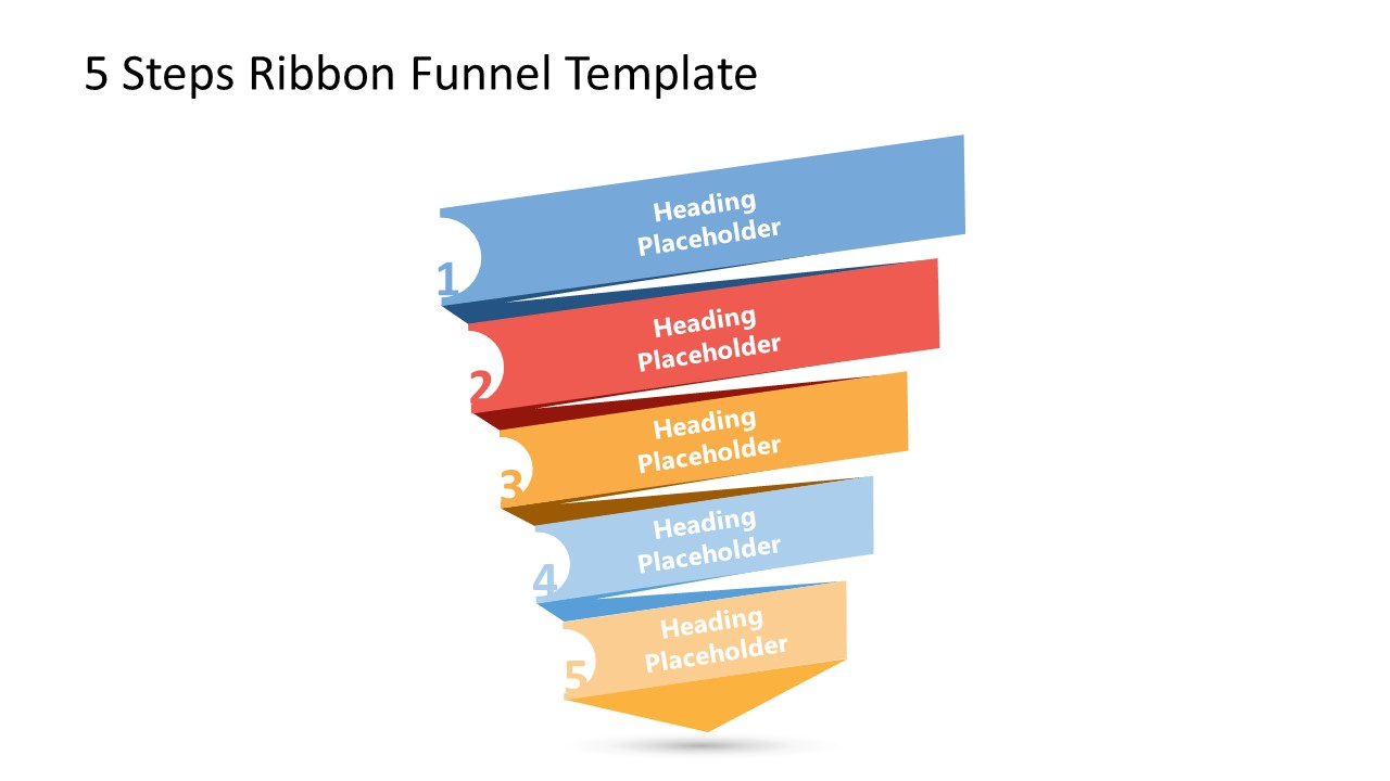 PPT 5 Steps Diagram Funnel Chart