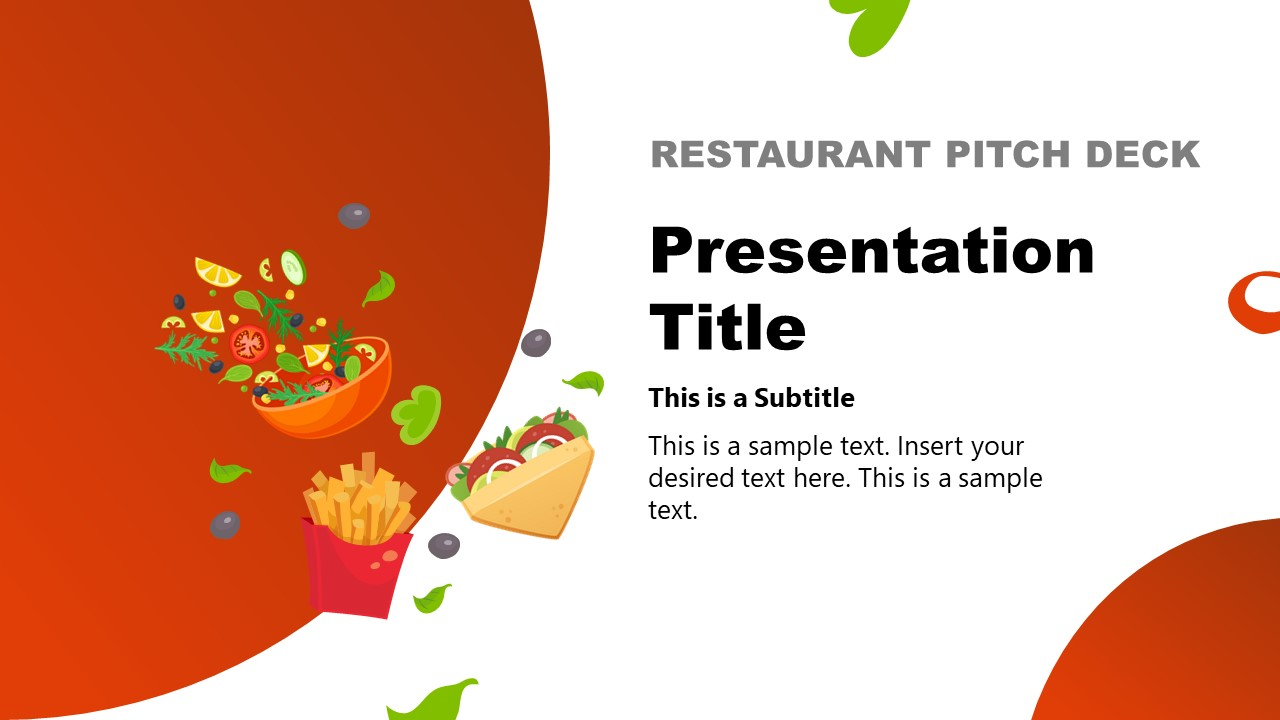 Template of Restaurant Pitch Deck Food Clipart