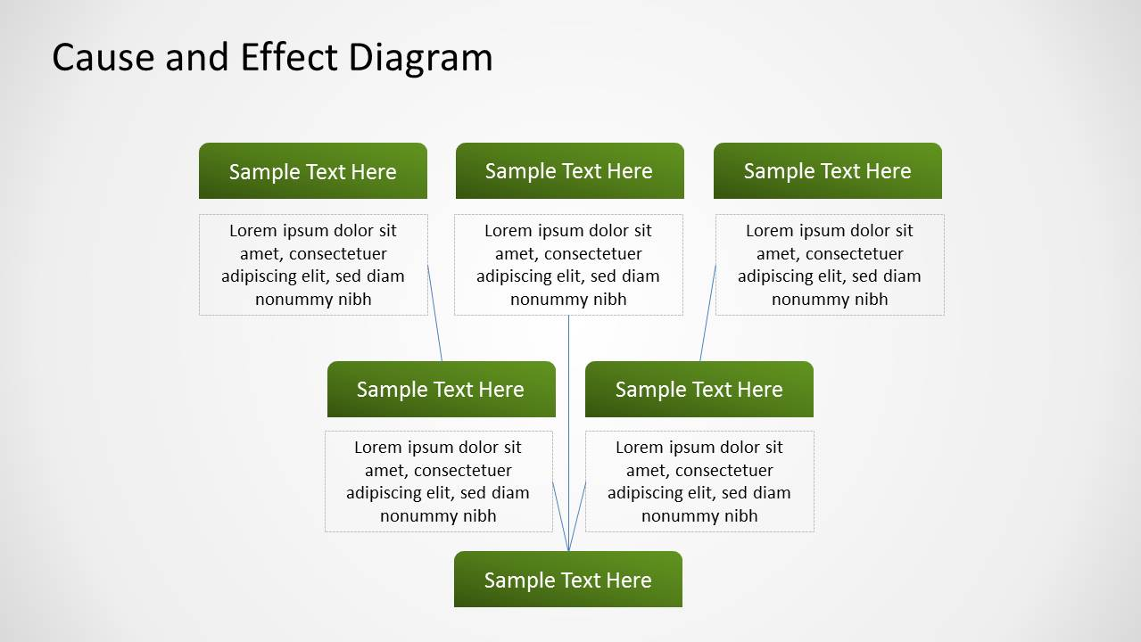 green cause effect diagram for powerpoint  root cause and effect diagram design for powerpoint