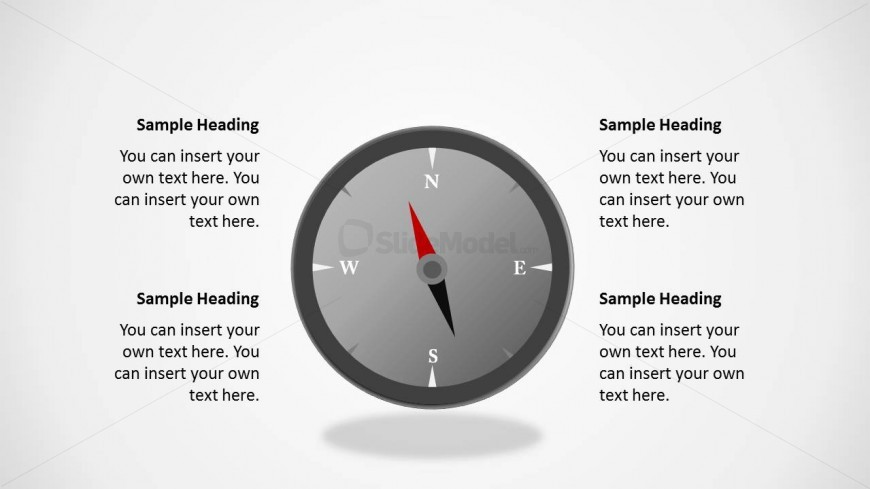 Editable compass shape for PowerPoint presentations