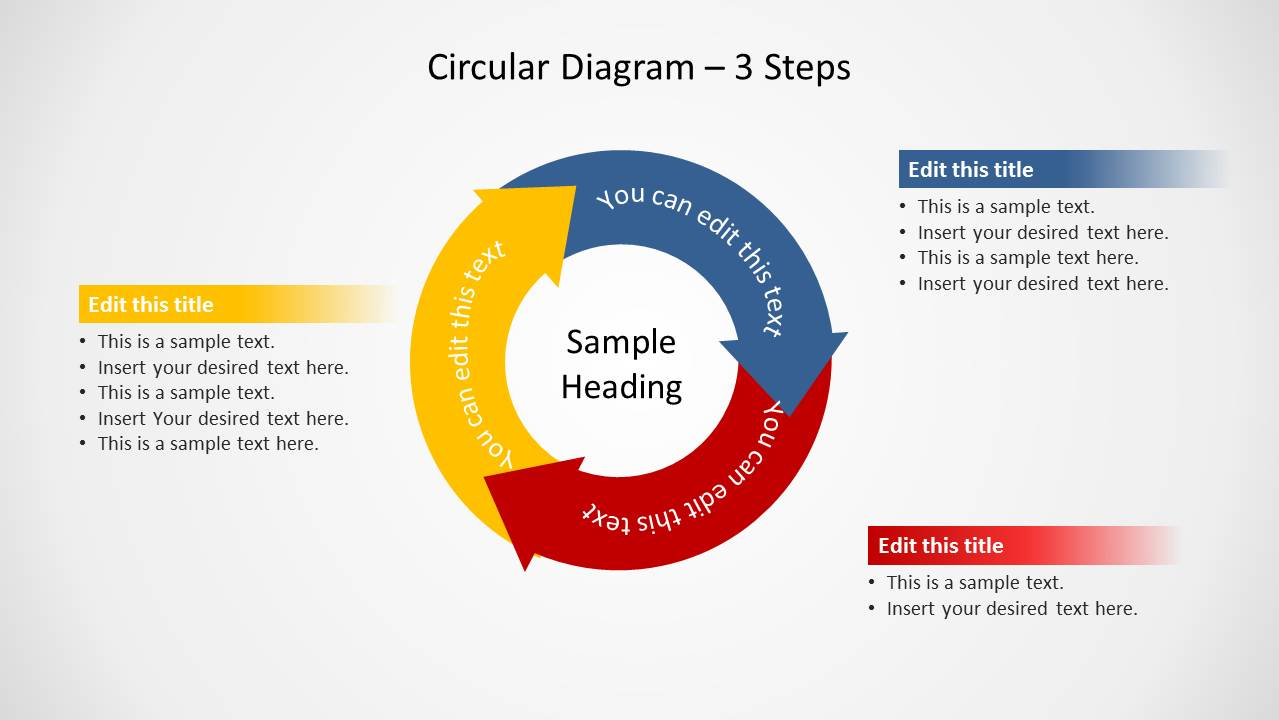 Circular Diagram 3 Steps For Powerpoint