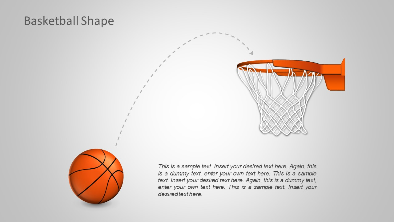PowerPoint Shapes of Basketball and Hoop Net