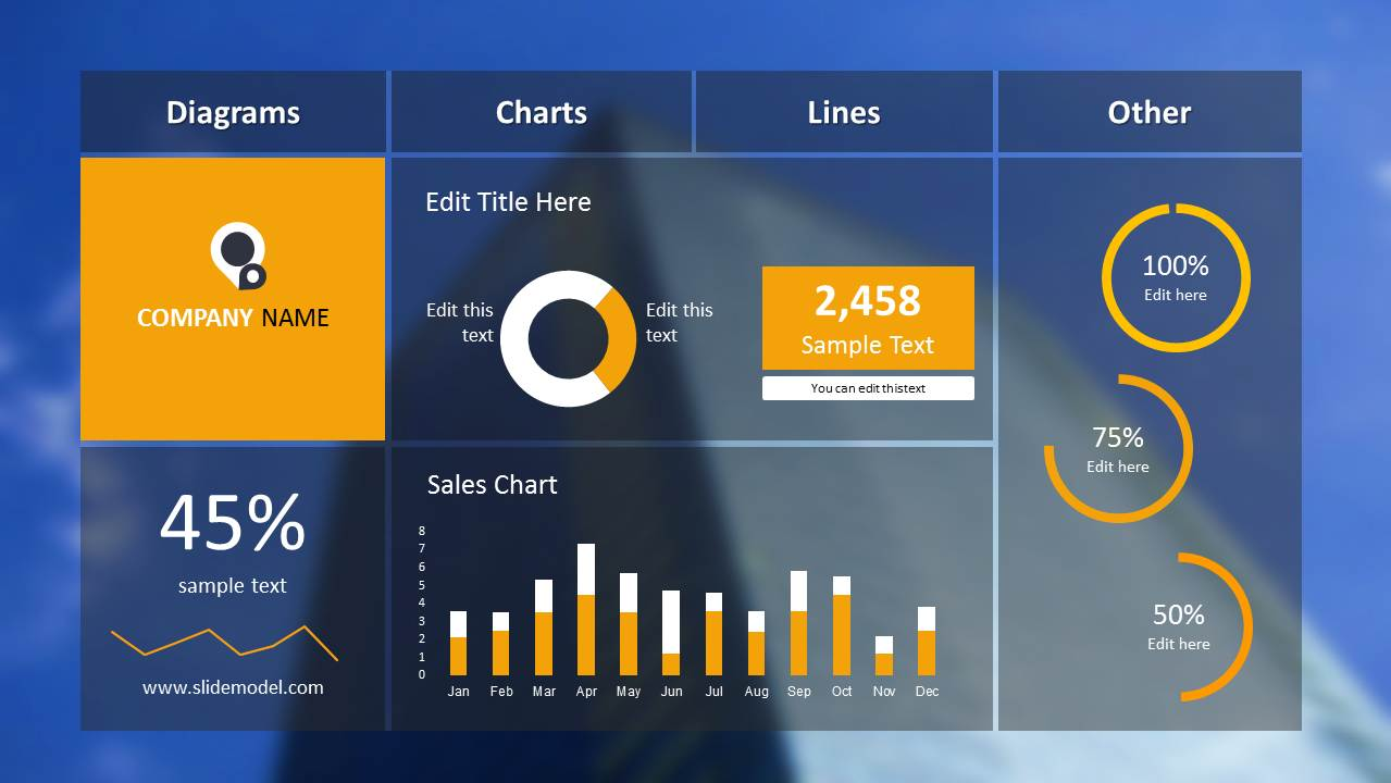Blue Dashboard Slide Design for PowerPoint