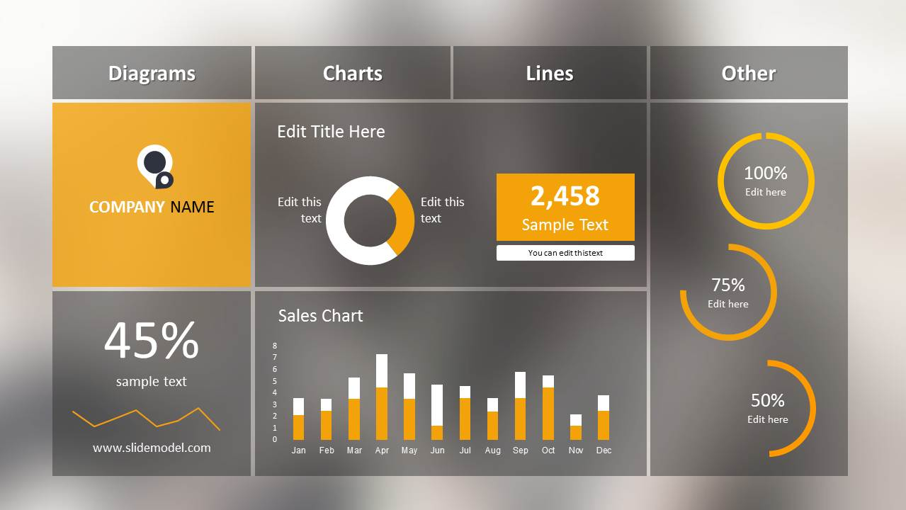 Blur Dashboard Slide For PowerPoint SlideModel - Company dashboard template free