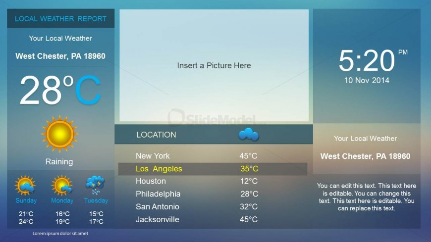 Weather dashboard powerpoint template slidemodel weather dashboard created in powerpoint presentations to make presentations on weather reports this weather powerpoint template contains placeholders where toneelgroepblik Images