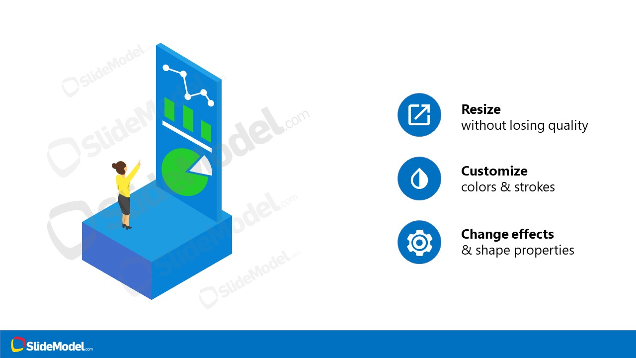 PowerPoint Dashboard Template Isometric Design