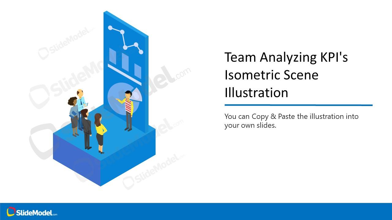 Team Dashboard Isometric Illustration PPT