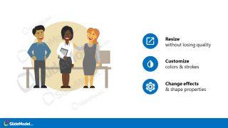 Scene Illustration of Office Executive Team PowerPoint