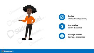 Bullet Points Slide African American Avatar Template