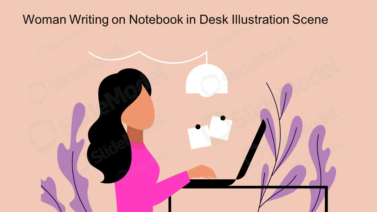 PPT Woman Writing Notebook Cartoon Illustration