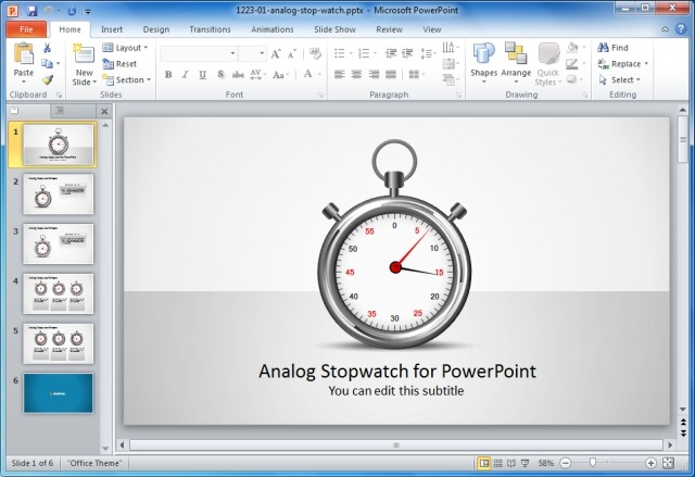 Analog Stopwatch For PowerPoint