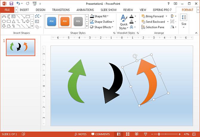 Arrow shapes in PowerPoint