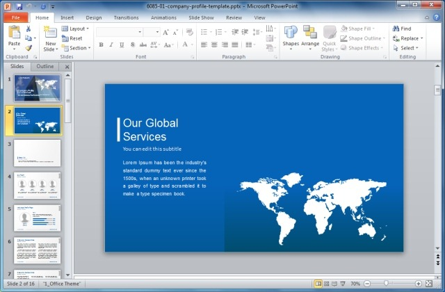 Global Sales Bar Chart Template For PowerPoint