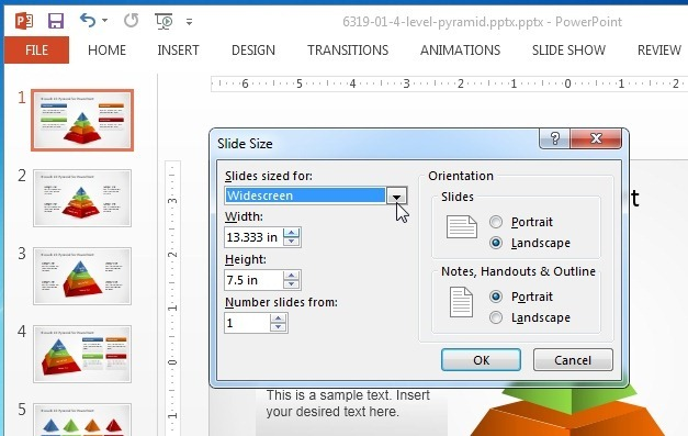 Cusom slide size in PowerPoint 2013