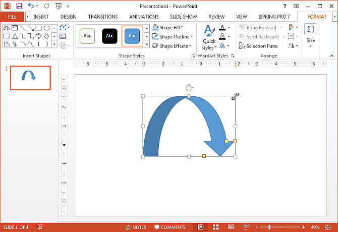Draw curved arrow in PowerPoint