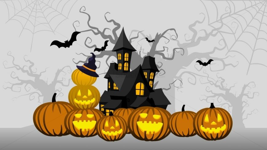 Pumpkin Carving Haunted House Template