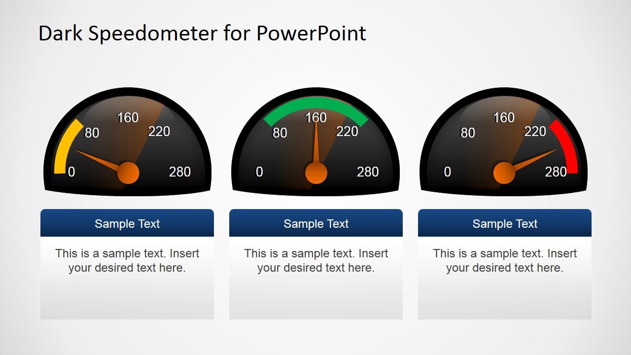 free dark speedometer shapes for powerpoint slidemodel