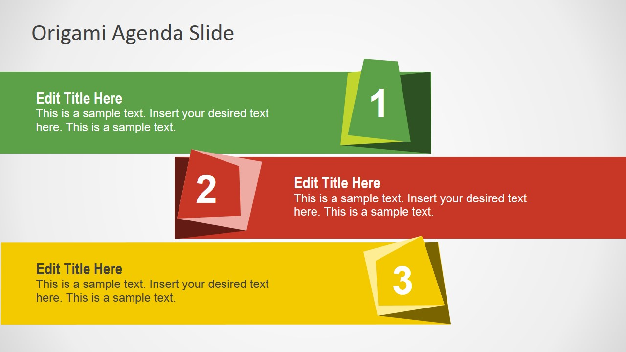 free origami agenda slides for powerpoint slidemodel