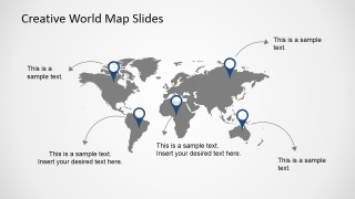 Free creative world map slides for powerpoint slidemodel the weekly free product for this week contains a world map presentation template design that can be reused in many different presentations gumiabroncs Image collections