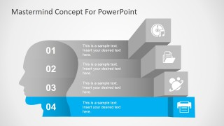 Mastermind Concept Four Steps PowerPoint Diagram
