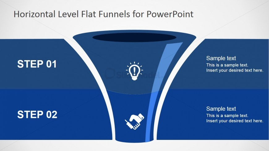 Two Steps Marketing Funnel with editable icons.